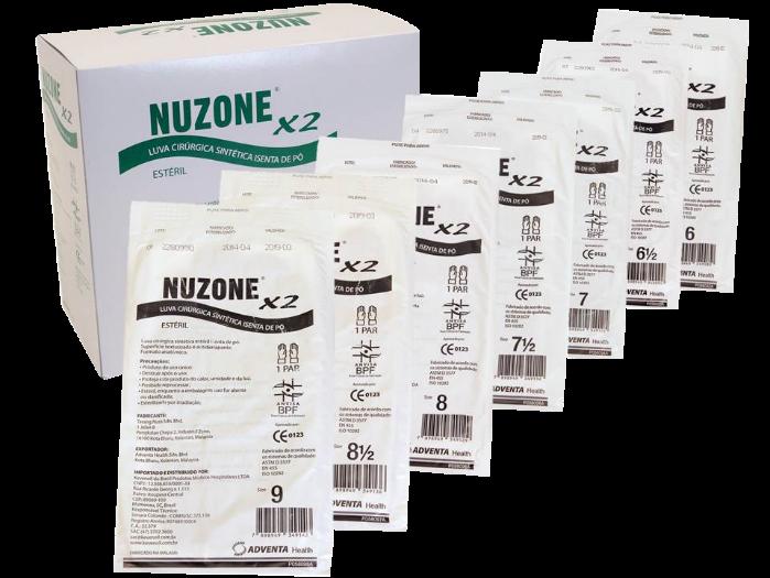 Produto Nuzone X2 luva cirúrgica sintética isenta de pó